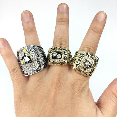 3 PCS Pittsburgh Penguins Stanley Cup Championship Rings Set