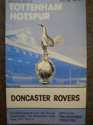 1975...TOTTENHAM HOTSPUR v DONCASTER ROVERS....League Cup rd Football Programme.