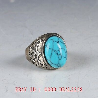 Chinese Exquisite Tibet Silver Inlaid Turquoise Handwork National Fashion Ring