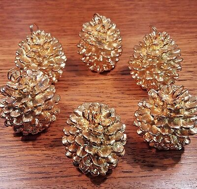 Department 56 Metal Pinecone Ornaments or Place Card Holders set of 6 gold Dept