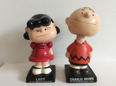 Vintage Charlie Brown And Lucy Bobble Heads Nodders