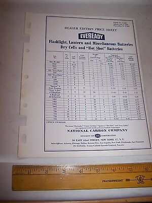 1958 EVEREADY BATTERY Dealer Price Sheet NATIONAL CARBON COMPANY