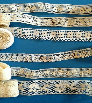19 yd LOT of 6 FRENCH Valenciennes Tiny INTRICATE Vtg Antique LACES Doll Clothes
