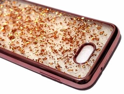 For Samsung Galaxy J7 V/Sky Pro/Prime 2017 ROSE GOLD Flakes Rubber Silicone Case