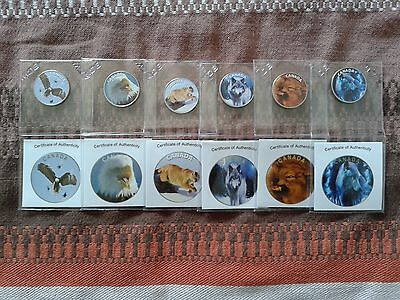 COMPLETE SET (6X ) canada 2015  coloured 25 cents coin  BU
