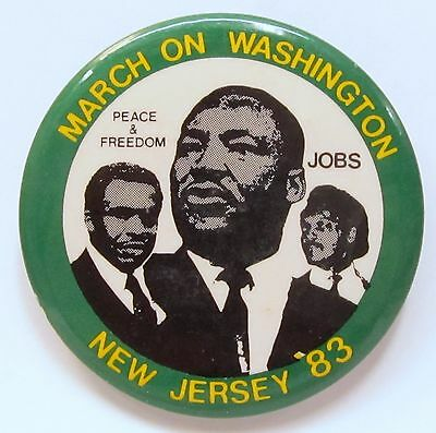 Martin Luther King MARCH ON WASHINGTON - NEW JERSEY 1983  pinback button