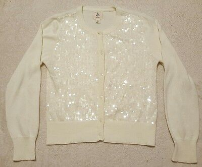 Lands End Kids Girls Size Medium 10-12 Sequined Button Up Sweater Ivory