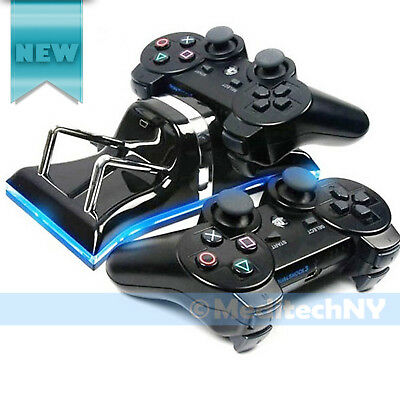 PS3 Dual USB Controller Charging Station Blue LED Charger Dock Sony PlayStation