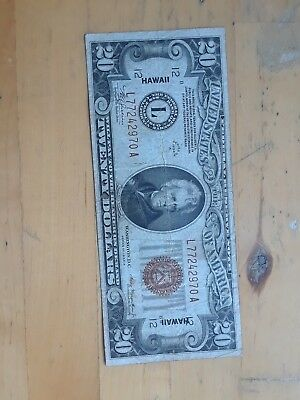 1934 $20 Hawaii Federal Reserve Series Of 1934 A Circulated No Reserve