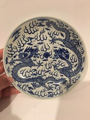 Chinese Antique Signed Dragon Bowl Estate