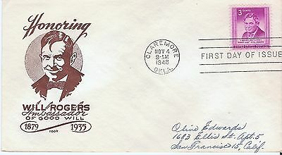 Scott 975 - Will Rogers FDC with IOOR cachet