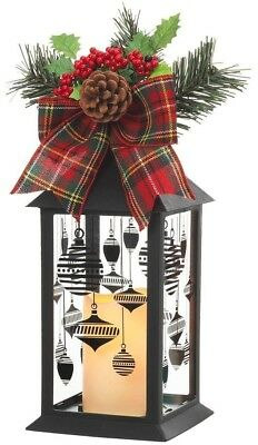 Black Plastic Lantern with Outdoor Resin Timer Candle Christmas Candle 13 in.