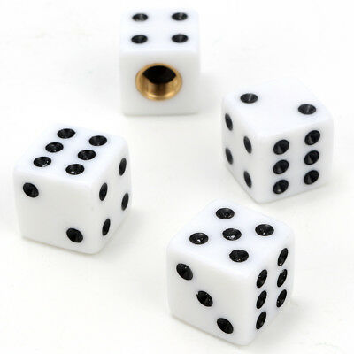 4x White Dice Car Truck Moto Bicycle Tire Air Valve Stem Caps Wheel Rims Cover