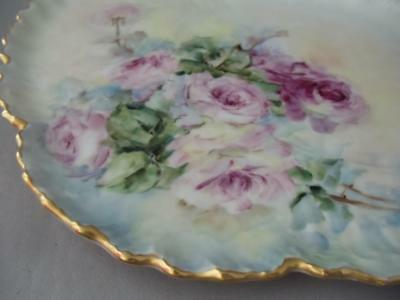 Antique Vtg French Limoges Hand Painted Pink Roses Porcelain Platter Vanity Tray