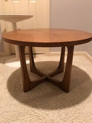 Mid Century Modern Round Wood End or Small Coffee Table - May Ship