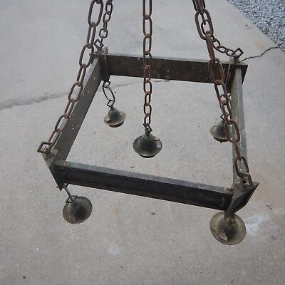 Arts & Crafts Brass Chandelier Old Hanging Light Very Tarnished 5 Lamp Perkins