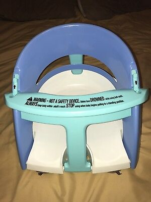 Dream baby Infant Blue and White Bath Seat FOLDS Chair Tub Ring