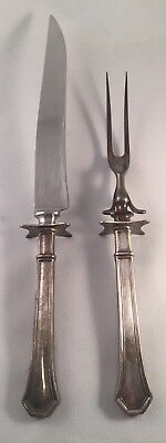 Antique Marked Sterling Silver Handle Carving Knife and Fork Set
