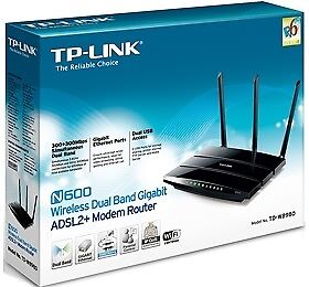TP-LINK WIRELESS-N MODEM ROUTER, ADSL2+, 10/ 100/ 1000(4), 600MBPS, 3 x ANT, USB