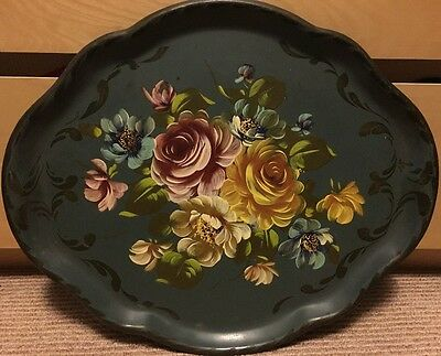 Vintage Hand Painted Tole Tray Floral Pattern