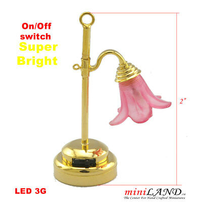 Pink brass Bright battery LED LAMP Dollhouse miniature light 1:12 on/off switch