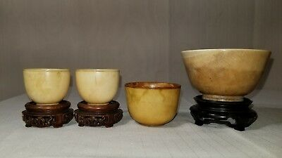 Lot Of 4 Antique Chinese Carved Cups All 19th Century