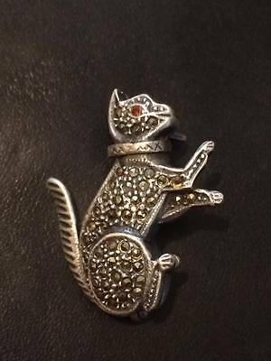 Sterling silver .925 marcasite cat brooch ruby red eye