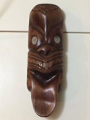 Vintage Wooden Tiki Mask Carved in Rotorua New Zealand  Paua shell eyes