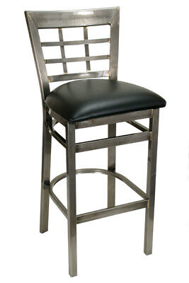 New Gladiator Clear Coat Window Pane Metal Restaurant Bar Stool, Black Seat