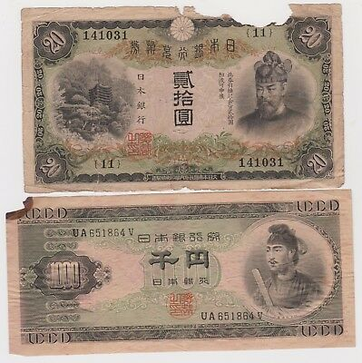 Rare lots of 2 Japanese banknotes of 20 yen and 1000 yen, 1931, 1950, circulated