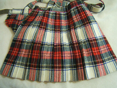 Childs Vintage 1950s-60s Wool Plaid Pleated Skirt with straps Girls Jumper