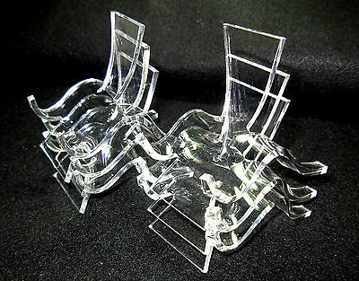 Set of 6 Medium, Clear Acrylic Plastic Display Stands                     ---