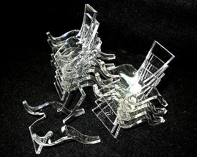 Set of 10 Small, Clear Acrylic Plastic Display Stands               --