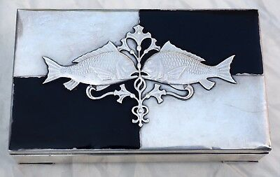 Beautiful Vintage Japanese Sterling Silver Fish Lid Wooden Lined Box - Signed