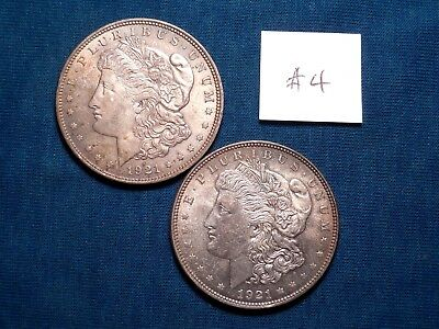 1921 BU Morgan Silver Dollars; 2 Silver Coins, $2 Face Value; #4
