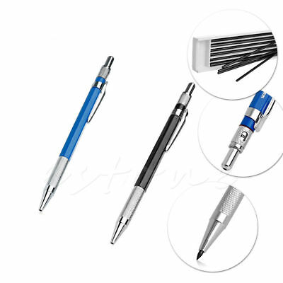 2B 2mm Lead Holder Automatic Mechanical Draughting Drafting Pencil12 x Leads