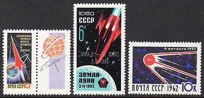 RUSSIA, 1960s SPACE STAMPS 3 MNH