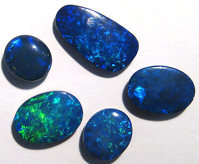 5 Bright Australian Lightning Ridge Opal Doublets, blues and greens (AOW 1704)