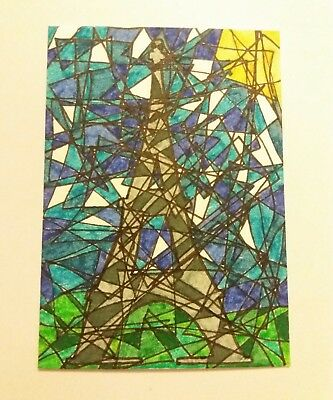 "Small Original Art Picture ACEO Card "" PARIS TOWER "" Abstract signed by Artist"