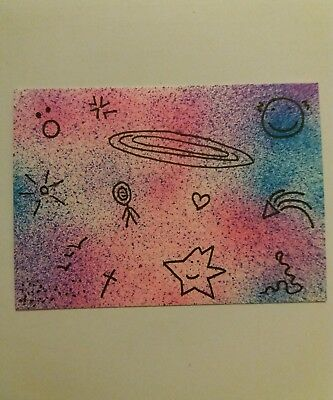 "Small Original Art Picture ACEO Card "" SPACE DOODLES "" Drawing signed by Artist"