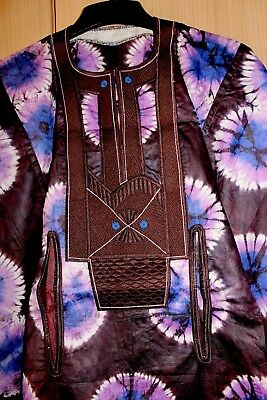Unique West African fully embroidered Danshiki top & tye dye Mens~Brown Mix