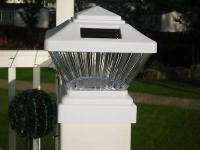 """Solar Powered White Led Outdoor Garden Post Decking Square Fence Lights 4""""x4"""""""