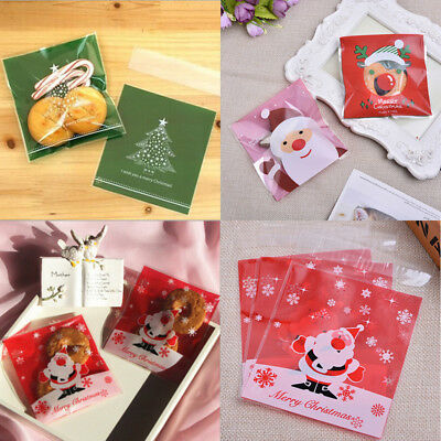 20pcs Self Adhesive Christmas DIY Cellophane Party Treat Cooky Candy Gift Bags