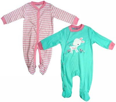 Girls Baby PACK OF 2 Little Deer Sleepsuit Cotton Rompers Newborn to 9 Months