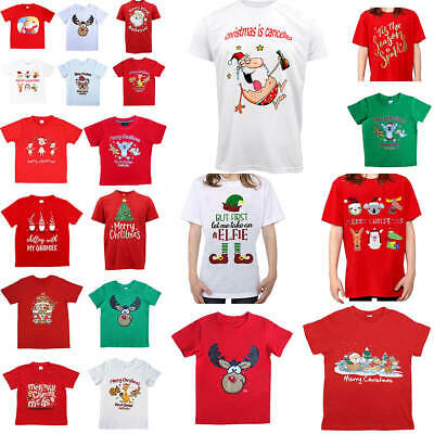 New Kids Christmas Xmas T Shirt Tee Tops 100% Cotton Boys Girls Gift Red White