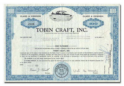 Tobin Craft, Inc. Stock Certificate