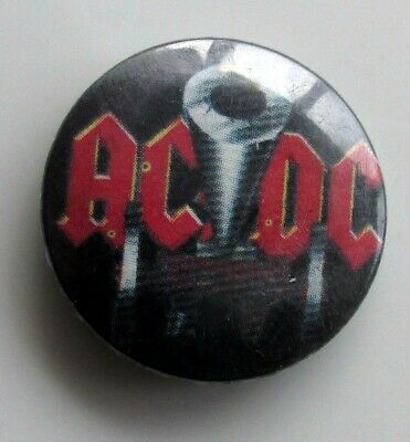 AC/DC ANGUS YOUNG ORIGINAL METAL BUTTON BADGE FROM THE 1980's VINTAGE CANNON