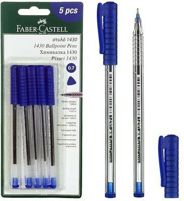 FABER-CASTELL 1430  BALL POINT BLUE INK PEN 5pcs IN A BLISTER CARD
