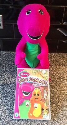 """Large 18"""" TALKING BARNEY The Dinosaur Soft Plush Toy AND Riffs Clubhouse DVD"""