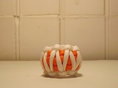 Paracord Woggle-Cobra Weave White and Orange